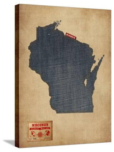 Wisconsin Map Denim Jeans Style-Michael Tompsett-Stretched Canvas Print