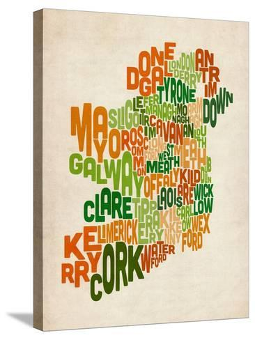 Ireland Eire County Text Map-Michael Tompsett-Stretched Canvas Print