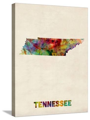 Tennessee Watercolor Map-Michael Tompsett-Stretched Canvas Print