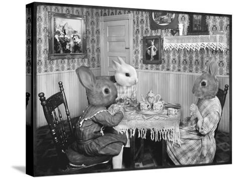 Bunny Tea Party-Grand Ole Bestiary -Stretched Canvas Print