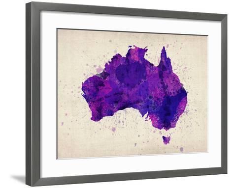 Australia Paint Splashes Map-Michael Tompsett-Framed Art Print