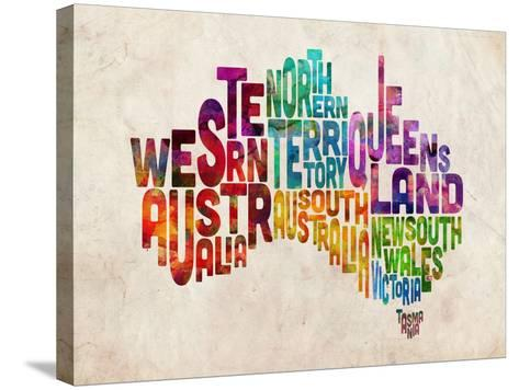 Australia Text Map-Michael Tompsett-Stretched Canvas Print
