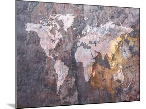 World Map on Stone Background-Michael Tompsett-Mounted Art Print