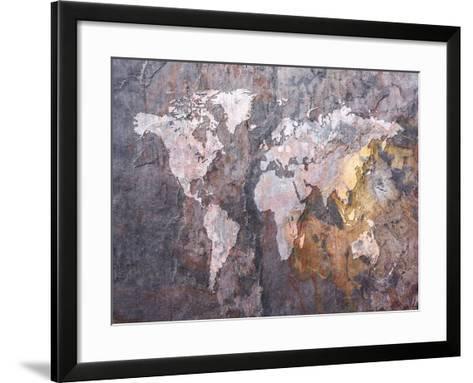 World Map on Stone Background-Michael Tompsett-Framed Art Print
