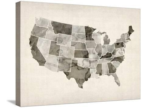 United States Watercolor Map-Michael Tompsett-Stretched Canvas Print