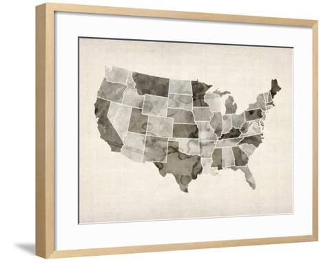 United States Watercolor Map-Michael Tompsett-Framed Art Print