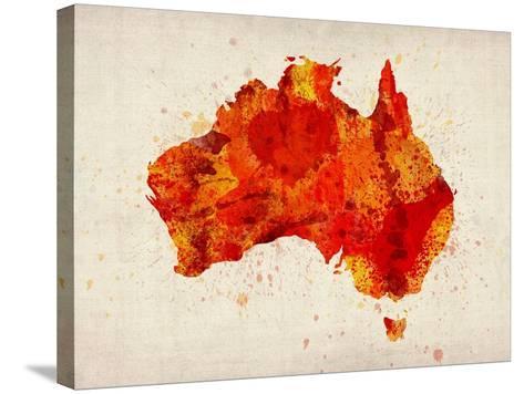 Australia Paint Splashes Map-Michael Tompsett-Stretched Canvas Print