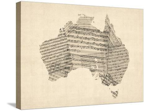 Old Sheet Music Map of Australia Map-Michael Tompsett-Stretched Canvas Print