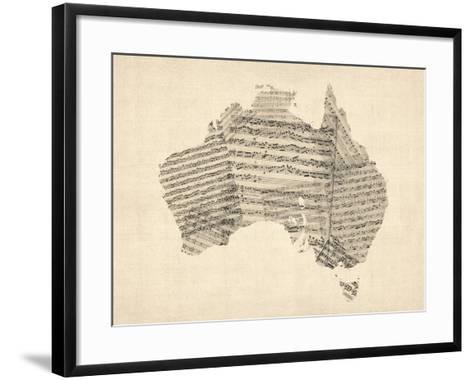 Old Sheet Music Map of Australia Map-Michael Tompsett-Framed Art Print