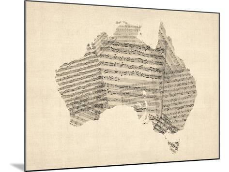 Old Sheet Music Map of Australia Map-Michael Tompsett-Mounted Art Print