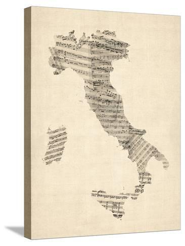 Old Sheet Music Map of Italy Map-Michael Tompsett-Stretched Canvas Print