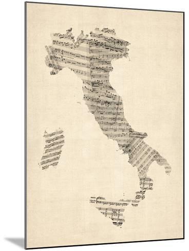 Old Sheet Music Map of Italy Map-Michael Tompsett-Mounted Art Print