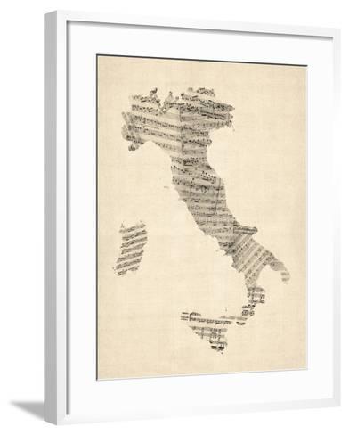 Old Sheet Music Map of Italy Map-Michael Tompsett-Framed Art Print