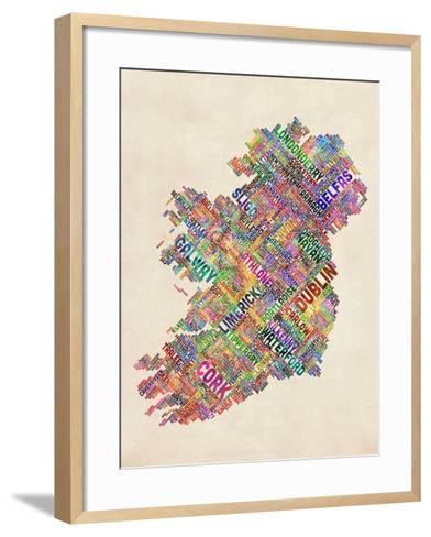 Ireland Eire City Text map-Michael Tompsett-Framed Art Print