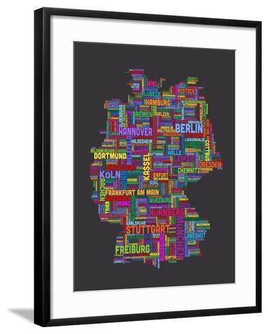 City Text Map of Germany-Michael Tompsett-Framed Art Print