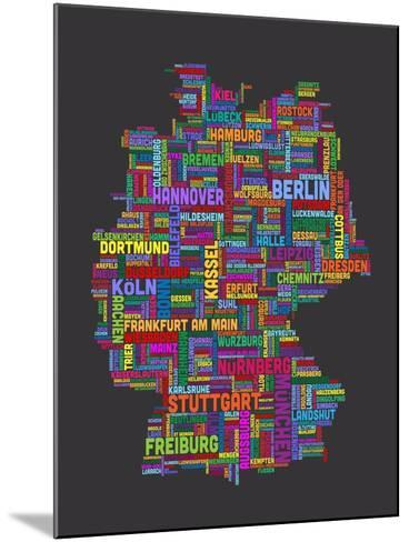 City Text Map of Germany-Michael Tompsett-Mounted Art Print
