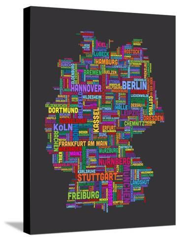 City Text Map of Germany-Michael Tompsett-Stretched Canvas Print