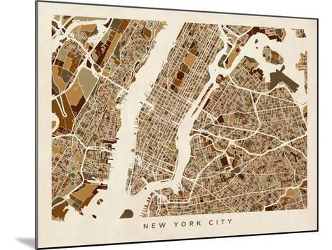 New York City Street Map-Michael Tompsett-Mounted Art Print