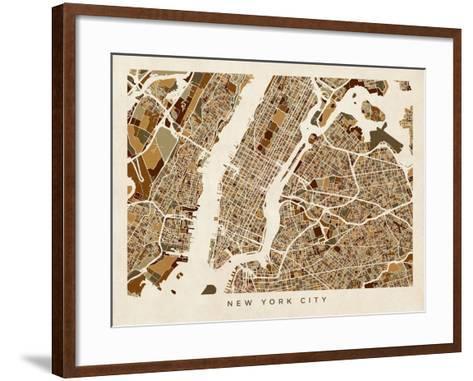 New York City Street Map-Michael Tompsett-Framed Art Print