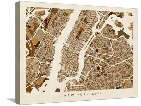 New York City Street Map-Michael Tompsett-Stretched Canvas Print