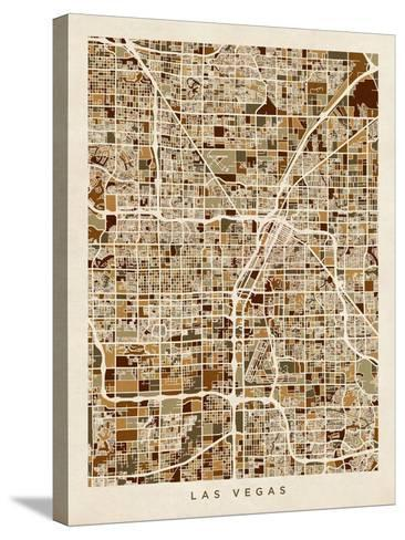 Las Vegas City Street Map-Michael Tompsett-Stretched Canvas Print