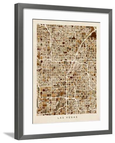 Las Vegas City Street Map-Michael Tompsett-Framed Art Print