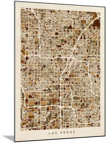Las Vegas City Street Map-Michael Tompsett-Mounted Art Print