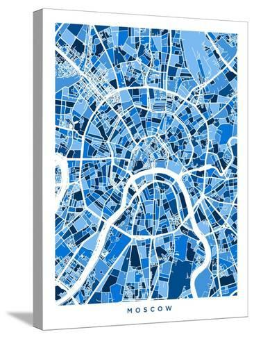 Moscow City Street Map-Michael Tompsett-Stretched Canvas Print