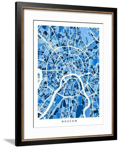 Moscow City Street Map-Michael Tompsett-Framed Art Print