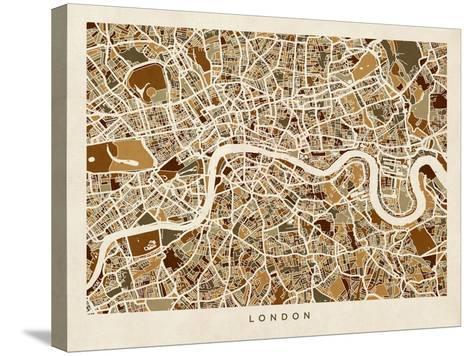 London England Street Map-Michael Tompsett-Stretched Canvas Print