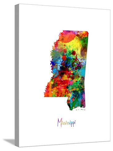 Mississippi Map-Michael Tompsett-Stretched Canvas Print