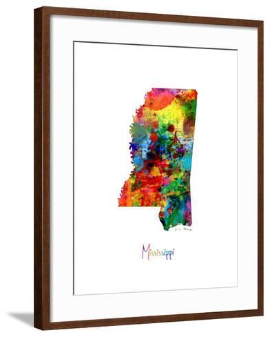 Mississippi Map-Michael Tompsett-Framed Art Print