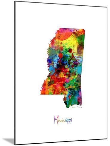 Mississippi Map-Michael Tompsett-Mounted Art Print