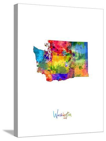Washington Map-Michael Tompsett-Stretched Canvas Print