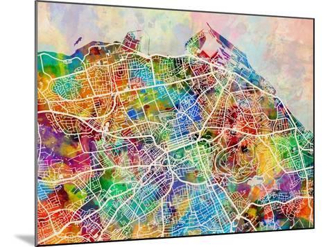 Edinburgh Street Map-Michael Tompsett-Mounted Art Print