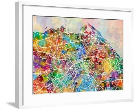 Edinburgh Street Map-Michael Tompsett-Framed Art Print