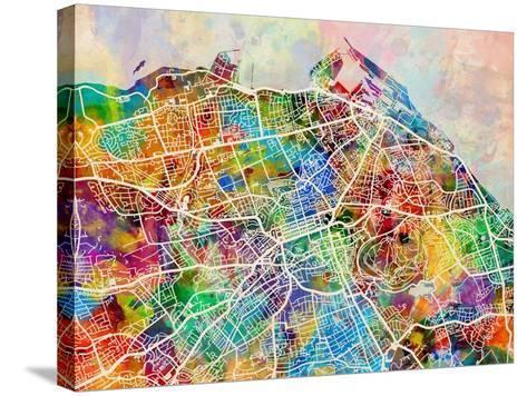 Edinburgh Street Map-Michael Tompsett-Stretched Canvas Print