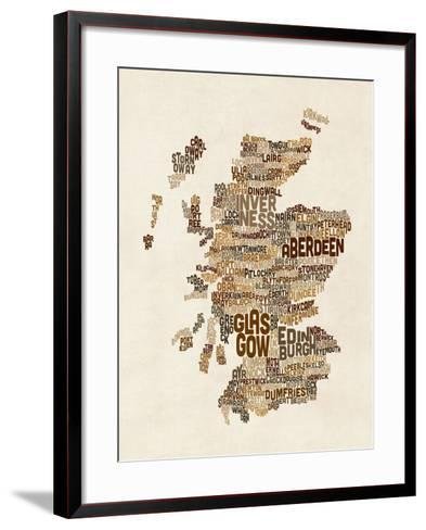 Scotland Typography Text Map-Michael Tompsett-Framed Art Print