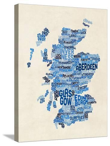 Scotland Typography Text Map-Michael Tompsett-Stretched Canvas Print