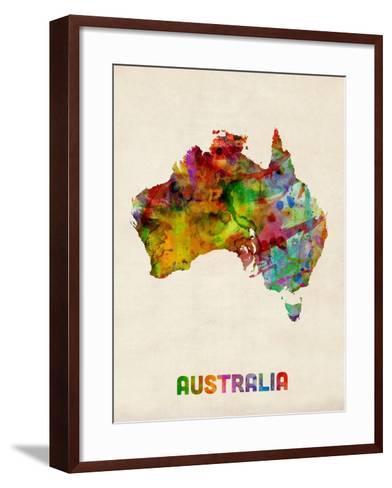 Australia Watercolor Map-Michael Tompsett-Framed Art Print