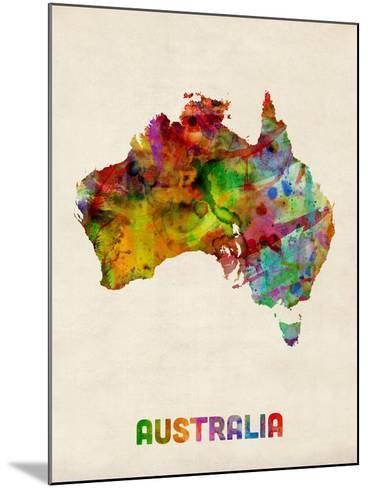 Australia Watercolor Map-Michael Tompsett-Mounted Art Print