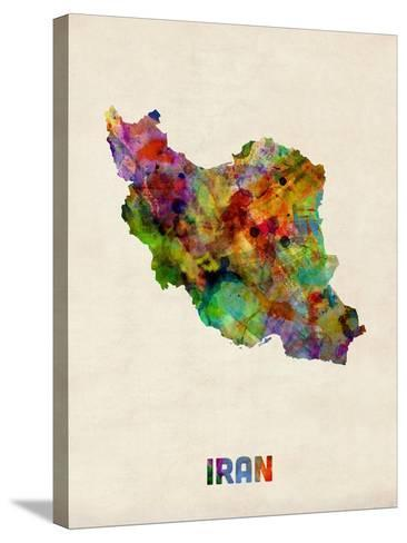 Iran Watercolor Map-Michael Tompsett-Stretched Canvas Print