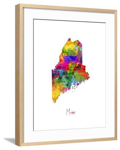Maine Map-Michael Tompsett-Framed Art Print