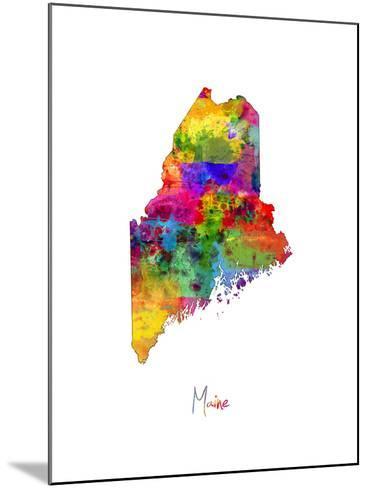 Maine Map-Michael Tompsett-Mounted Art Print