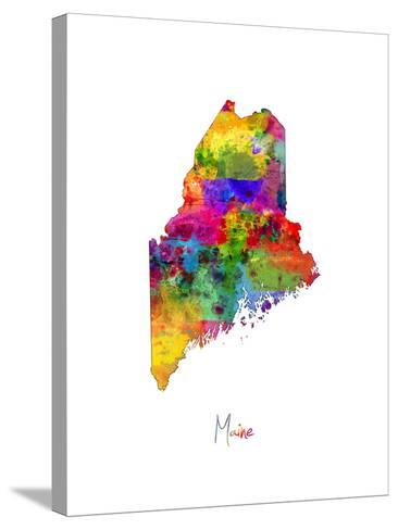 Maine Map-Michael Tompsett-Stretched Canvas Print