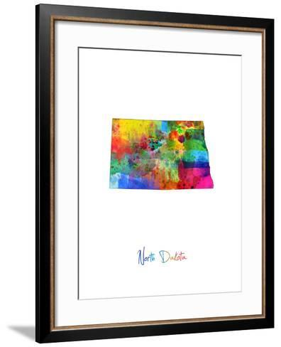 North Dakota Map-Michael Tompsett-Framed Art Print
