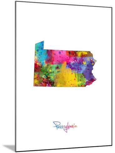 Pennsylvania Map-Michael Tompsett-Mounted Art Print