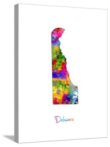 Delaware Map-Michael Tompsett-Stretched Canvas Print
