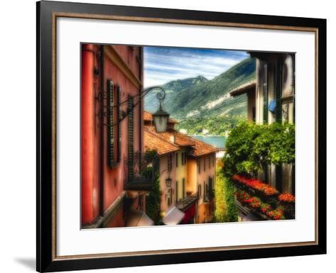 Charming Street Scene in Bellagio II-George Oze-Framed Art Print