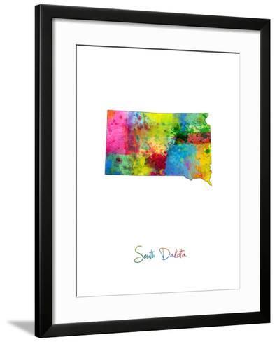South Dakota Map-Michael Tompsett-Framed Art Print